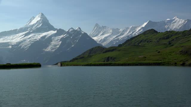 Upper Bachalpsee against Schreckhorn and Finsteraarhorn, Grindelwald-First, Bernese Alps, Switzerland, Europe