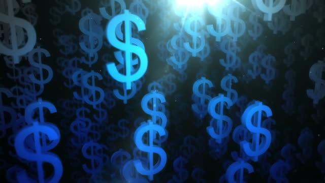 upward dollar sign background loop blue stock footage