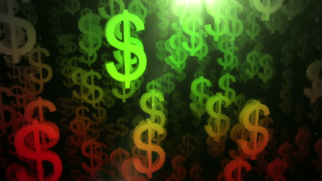 Upward Dollar Sign Background Loop - Red to Green (HD)