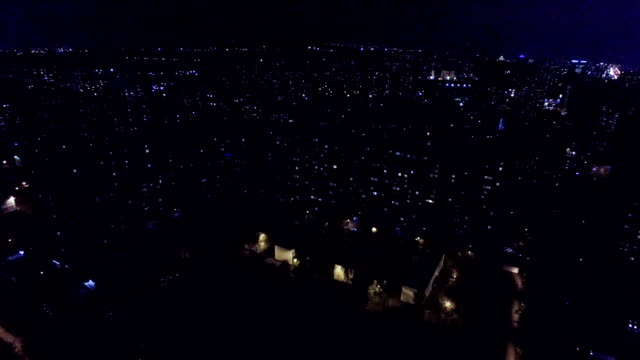 Urban district at night - aerial view