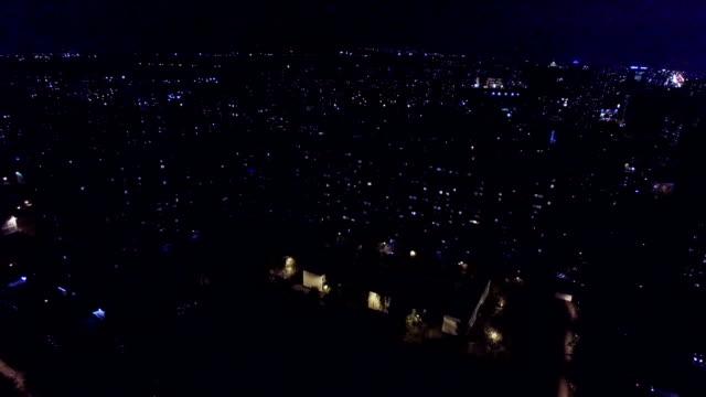 Distretto urbano di notte-Vista aerea