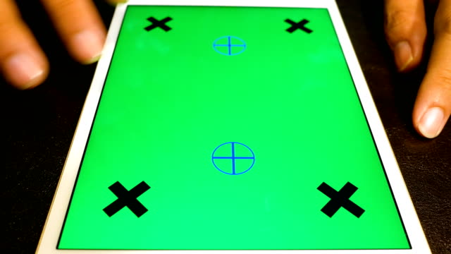 Using digital tablet with green screen, chroma key