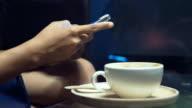 Using smart phone in restaurant