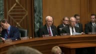 Utah Senator Orrin Hatch reads prepared remarks at a hearing of the Senate Finance Committee on a health care block grant bill cosponsored by...