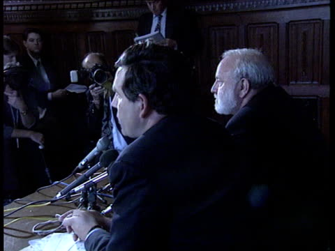 Utilities windfall Tax INT London Gordon Brown and Frank Dobson sitting at pkf table CBV SIDE ditto with Brown speaking CLA SIDE more ditto GV Press...