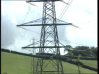 Utilities windfall Tax ITN LIB EXT Location Unknown CMS Pylon with others behind across countryside PULL OUT ditto