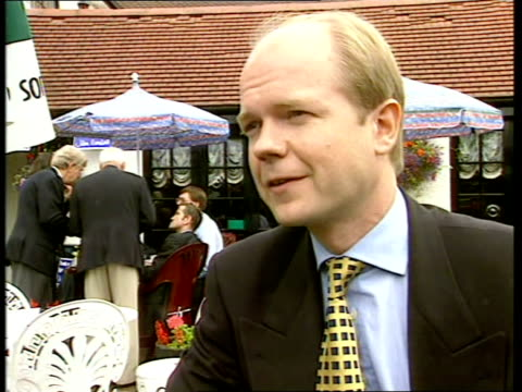 Middx Uxbridge Tory Party Leader William Hague MP meeting victorious candidate John Randall at `The Turning Point' public house as supporters stand...