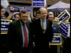 Uxbridgebyelection ITN Tory Party Leader William Hague MP from car as greeted by Tory supporters with placard Hague shakes with new MP John Randall...