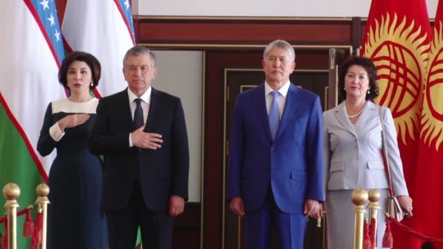 Uzbek President Shavkat Mirziyoyev meets with his Kyrgyz counterpart Almazbek Atambayev in Bishkek Kyrgyzstan on September 05 2017