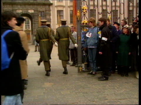 Vaclav Havel new President CZECHOSLOVAKIA Prague Hradcany Castle EXT Soldiers marching towards during the changing of the guard at Hradcany Castle...