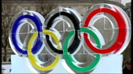 Ice sculpture unveiled in Trafalgar square ENGLAND London Trafalgar Square EXT General views of ice sculpture of Olympic rings with message 'Good...