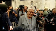Vanessa Redgrave at High Court for Dale Farm petition ENGLAND London High Court PHOTOGRAPHY *** GVs Vanessa Redgrave speaking to press outside court...