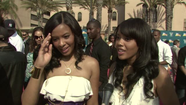 Vanessa Simmons and Angela Simmons on the event their clothing line musical talents at the 2008 BET Awards at Los Angeles California