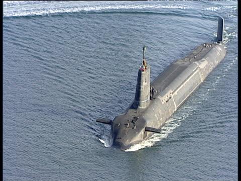 HMS Vanguard (Trident Submarine) cutting through water Firth of Clyde