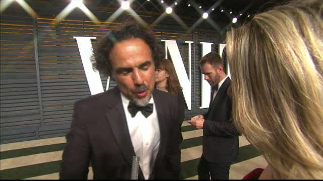 Vanity Fair Oscars Party Arrivals at the Wallis Annenberg Center for the Performing Arts in Beverly Hills Exterior Interview and shots Alejandro...