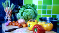 Variety vegetable on wooden box in kitchen / food and drink, healthy lifestyle conceptual