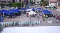 Various aerial footage shows that Turkish students forming the world's largest recycle symbol at the playground of a elementary school in Mersin...