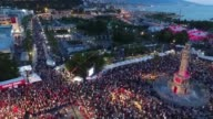 Various aerial shots from Konak square shows that people attending the July 15 Democracy and National Unity Day's events marking July 15 defeated...