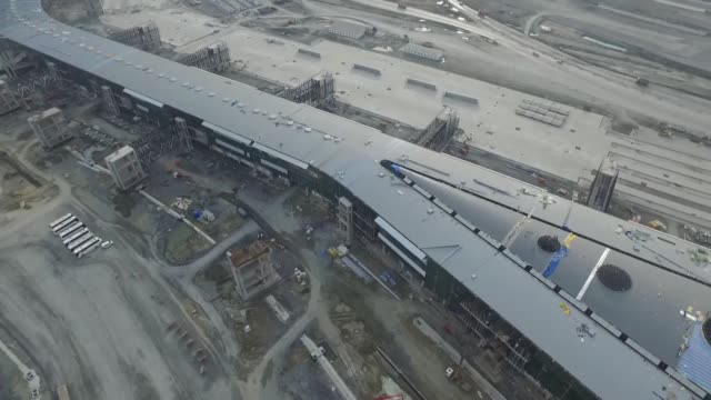 Various aerial shots of the new airport's terminal building as construction works continue for the Istanbul's third airport on November 17 Istanbul...