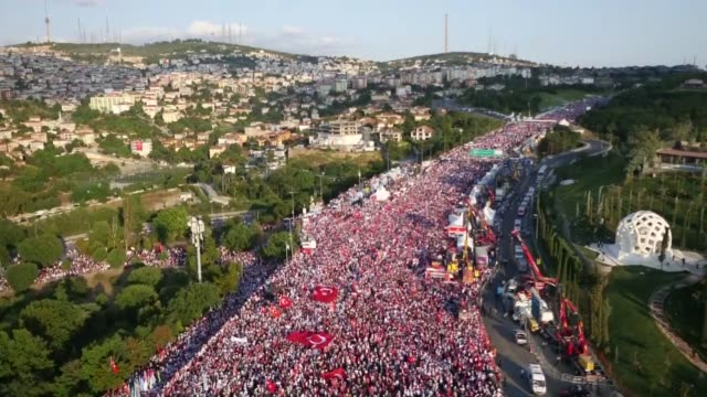 Various aerial shots of the people arrive to attend July 15 Democracy and National Unity Day's events to mark July 15 defeated coup's 1st anniversary...