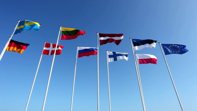 Various country flags from baltic countries