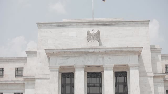 various exteriors of the Federal Reserve / summer weather / signage / logos / various angles Federal Reserve Exteriors Summer on June 21 2012 in...