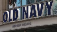 Various exteriors shots of an Old Navy retail location in Manhattan New York A wide exterior shot of an Old Navy retail location as pedestrians pass...