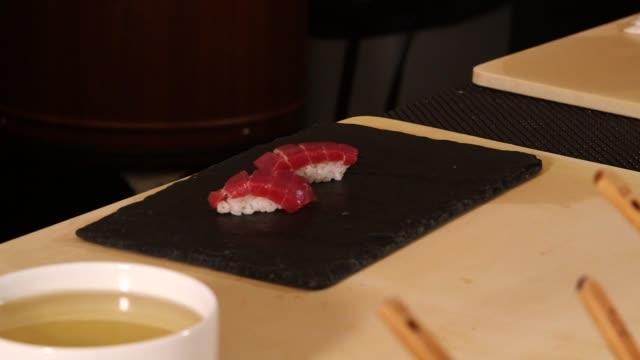 Various pieces of prepared nigiri sushi in Sushi Nakazawa Restaurant in New York City New York on March 24th 2015 Shots Interior close shots of two...