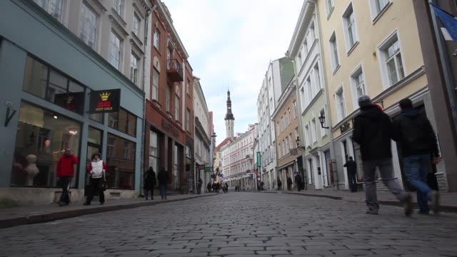 Various scenes around the town of Tallinn / tourists and people walking around cobblestone streets Estonia Street Scenes on November 14 2011 in...