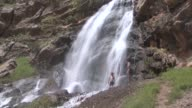 Various shots from Beyaz Waterfall which is the main local attraction in Cukurca town of Hakkari Turkey on April 24 2017 The waterfall which is...
