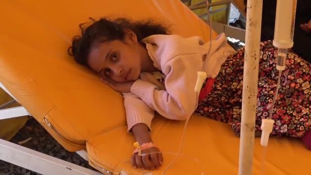 Various shots from Cholera patients received treatments in a Yemeni hospital in Sanaa on July 21 2017World Health Organization spokeswoman Fadela...