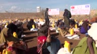 Various shots from Somalian cities of Bay Nugal and Shabelle as Members of Turkey's IHH Humanitarian Relief Foundation distribute packages full of...