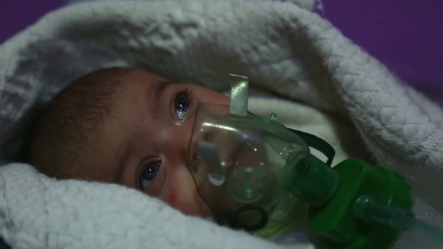 Various shots of a neonatal intensive care unit at a hospital in the Eastern Ghouta region of Damascus Syria on November 20 2017 Assad regime siege...