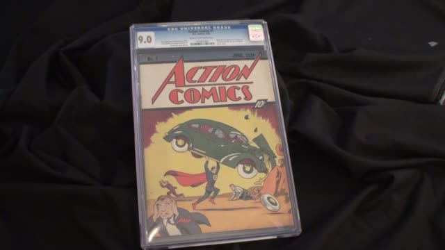 Various shots of Action Comics the first issue of the Action Comics series released in 1938 on display in New York City This comic is considered the...