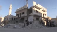 Various shots of AlBab town as Syrians repair their houses which were damaged by Daesh terrorists in Aleppo northern Syria on March 27 2017 AlBab...