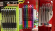 Various shots of back to school products at a Staples retail location in Manhattan New York A tight shot of packages of Pilot ink pens A tight shot...