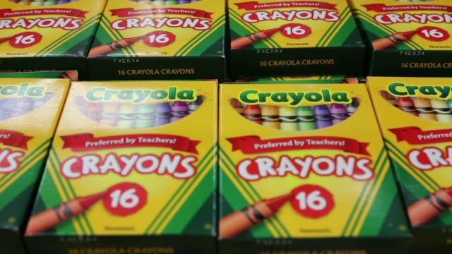 Various shots of back to school products at a Staples retail location in Manhattan New York A tight shot of packages of Crayola Crayons A tight shot...
