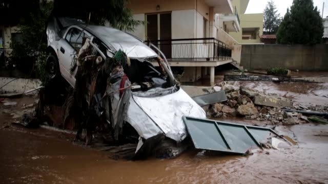 Various shots of flooded areas in Mandra northwest of Athens Greece on November 16 2017 At least 15 people have been reported dead in floods which...