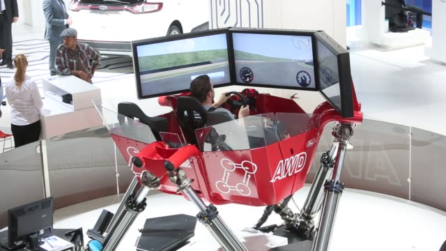 Various shots of installations and activities available to visitors at the IAA Frankfurt Motor Show in Frankfurt Germany on Tuesday Sept 16 2015...