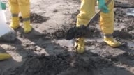 Various shots of oil and gas rigs off Port Fourchon workers in protective suits cleaning up tarballs on beach piles of plastic bags at the Gulf Oil...