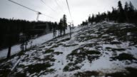 Various POV shots of skiiers riding ski lifts up a mountain at Heavenly Mountain Resort in Lake Tahoe California on February 6th 2015 Shots People...