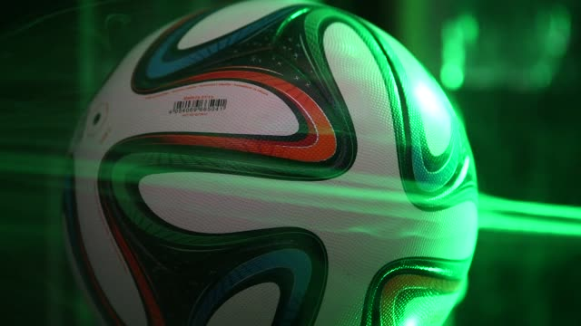 Various shots of the 2014 World Cup soccer ball Brazuca having its aerodynamics tested in a NASA wind tunnel at the NASA Fluid Mechanics Laboratory...