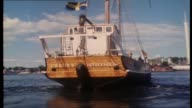 various shots of the Agnes Stockholm on the harbor/ Molly Meldrum continues his interview with members of ABBA re songwriting varying their sound and...
