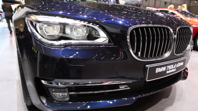 Various shots of the BMW 750Ld xDrive at the 2014 Geneva Motor Show in Geneva Switzerland on March 5 A tight tracking shot of the front end and grill...