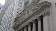 Various shots of the exterior of the New York Stock Exchange exteriors on an overcast day in Lower Manhattan New York City Medium shots of the...