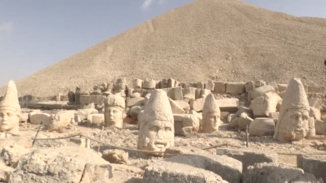 Various shots of the Mount Nemrut which has been preserved as a UNESCO World Heritage Site since 1987 in Kahta district of Adiyaman southeastern...