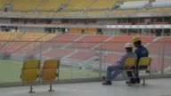 Various shots of the stadium and constructions workers onsite at the Arena da Amazonia Vivaldo Lima in Manaus Brazil on Wednesday April 19 A wide...