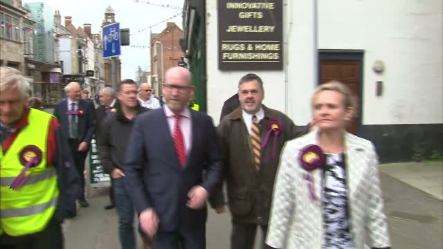 Various shots of UKIP leader Paul Nuttall speaking to local activists business owners and members of the media during a campaign visit to Great...