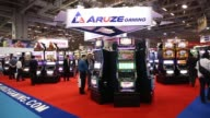 Various shots slot machines stand on display at an Aruze Gaming exhibit booth at the Global Gaming Expo Asia event in Macau Slot machines at the...