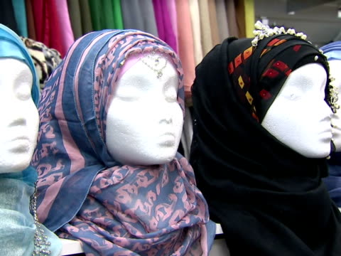 Various types of sartorial Hijab's sold in retail clothes shop Veils being sold in shop on September 16 2013 in Birmingham England